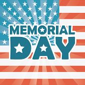 foto of memorial  - Memorial Day design over US flag background - JPG