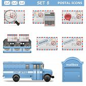 stock photo of mailbox  - Postal Icons Set 8 including mail - JPG