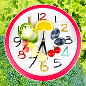 image of vegetable food fruit  - Food clock with vegetables and fruits as background - JPG