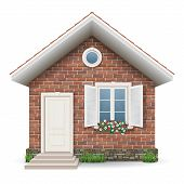 pic of windows doors  - Small brick residential house with a window door grass and flower pots - JPG