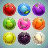stock photo of asset  - Set of colorful bubbles with fruits and vegetables icons game assets - JPG