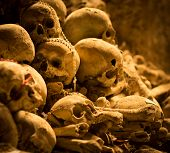 foto of catacombs  - Skulls in Fontanel cemetery Sanit� quarter Naples