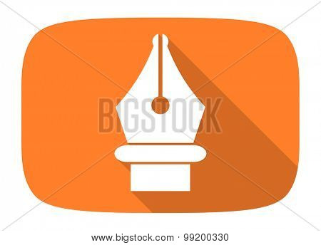 pen flat design modern icon with long shadow for web and mobile app