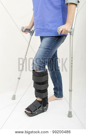 Broken Leg and Crutches and Support