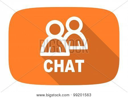 chat flat design modern icon with long shadow for web and mobile app