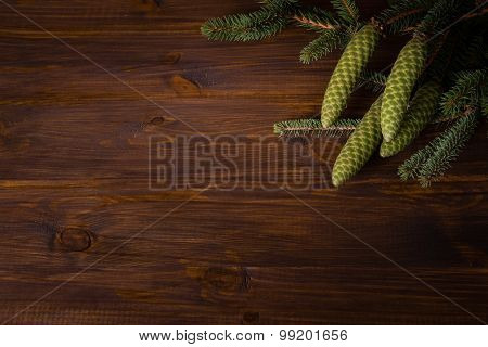 Spruce branch with cone on wooden planks