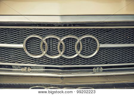 Sleza, Poland, August 15, 2015: Close Up On Classic Audi Sing On.   Motorclassic Show On August 15,