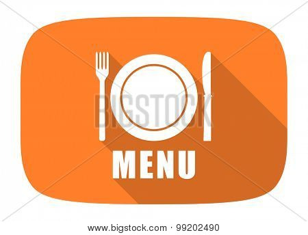 menu flat design modern icon with long shadow for web and mobile app