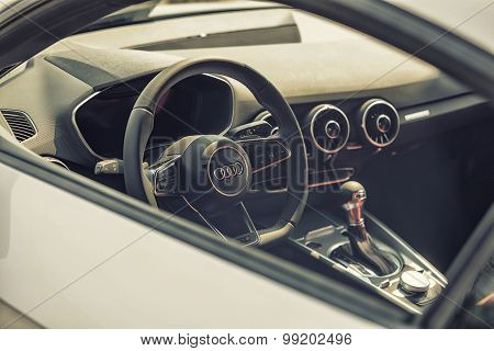 Sleza, Poland, August 15, 2015: Close Up On Audi Cockpit And Wheel On  Motorclassic Show On August 1