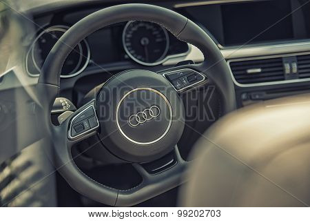 Sleza, Poland, August 15, 2015: Close Up On Audi Steering Wheel On  Motorclassic Show On August 15,