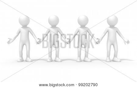 An image of a four people team standing hand in hand