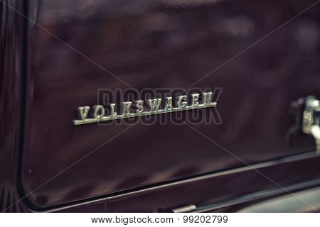 Sleza, Poland, August 15, 2015: Close Up On Volkswag Old Vintage Car And Logo On  Motorclassic Show