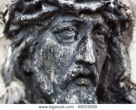 Old Cemetery Marble Sculpture Of Jesus Christ