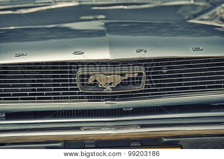 Sleza, Poland, August 15, 2015: Close Up On Old Vintage Ford Mustang Logo On  Motorclassic Show On A