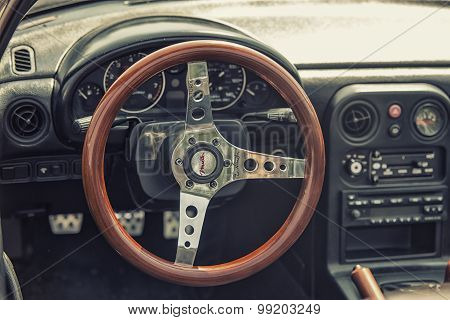 Sleza, Poland, August 15, 2015: Close Up On Old Vintage Steering Wheel And Cockpit On Motorclassic S