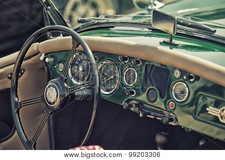 Sleza, Poland, August 15, 2015: Close Up On Old Vintage Steering Wheel And Cockpit  On Motorclassic