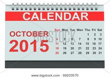 October 2015, Desk Calendar
