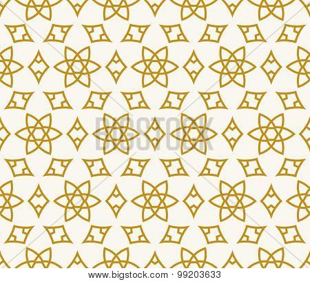 Seamless background in Arabic style. Gold stars patterns in white wallpaper for textile design. Traditional oriental decor