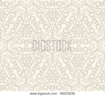 Seamless background in Arabic style. Beige patterns in white wallpaper for textile design. Traditional oriental decor