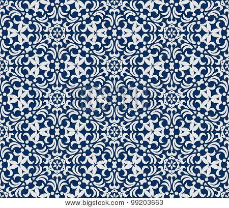 Seamless background in Arabic style. Blue and white wallpaper with patterns for design. Traditional oriental decor