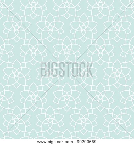 Seamless background in Arabic style. Blue wallpaper with patterns for design. Traditional oriental decor stars tile