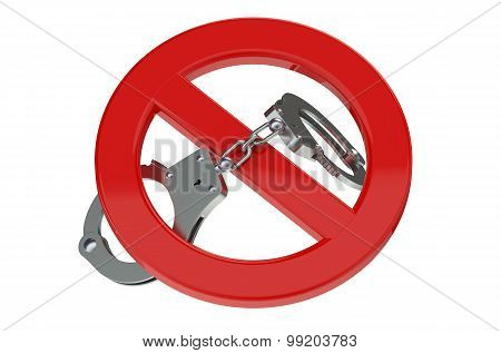 Handcuffs In Prohibition Sign