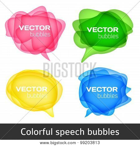 Abstract shape design. Colorful spech bubles set. Set of round colorful vector shapes. Abstract vect