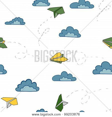 Color Paper Airplanes On The Sky With Clouds. Seamless Pattern Vector Illustration