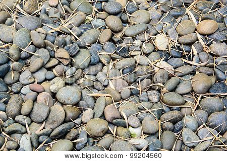 Pile Of Stones In Different Sizes With Dried Bamboo Leaves.