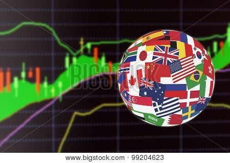Flags Globe Over The Display Of Charts Of Financial Instruments For Technical Analysis.