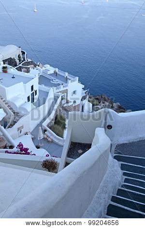 White Buildings Of Oia Village At Sunset, Santorini Island, Greece