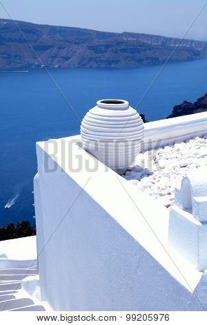 White Greek Pot On White Terrace, Oia, Santorini, Cyclades, Greece