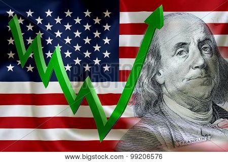 Flag Of The United States Of America With The Face Of Benjamin Franklin On Us Dollar 100 Bill.