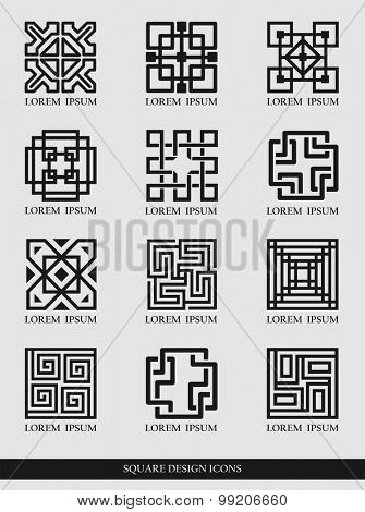 Vector illustration of traditional square design elements