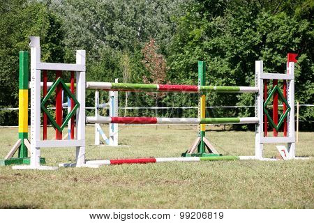 Equitation Obstacles And Barriers On A Show Jumping Event