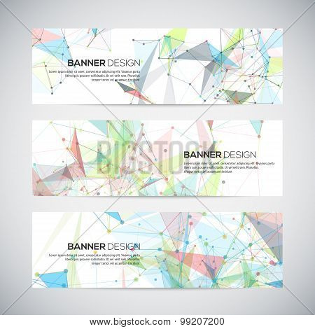 Vector banners with polygonal abstract shapes, circles, lines, triangles