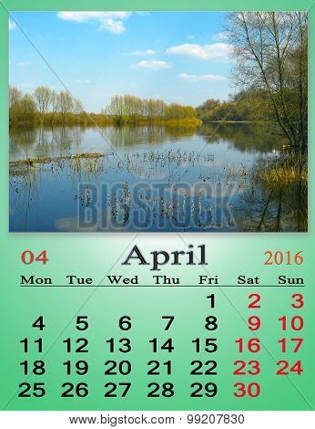Calendar For April 2016 With Image Of Spring Flood