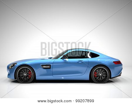 Sports car left view. The image of a sports blue car on a white background.