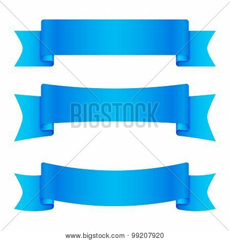 Set of 3 blue empty ribbons and banners
