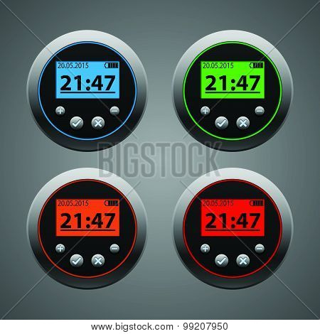 Set electronic clock with red, green, orange, blue backlight