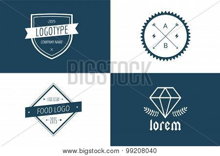 Vintage old style logo icon template set