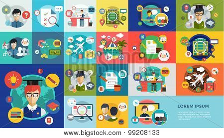 Online education vector icons. Webinar, school. Office life, work