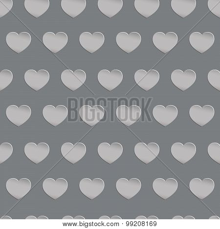 Seamless black and white texture with three-dimensional hearts