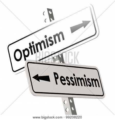 Optimism And Pessimism Road Sign