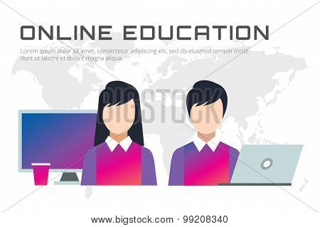 Online education vector icons. Webinar, school