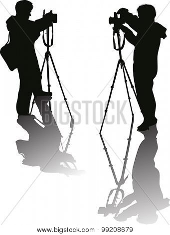 illustration with photographers isolated on white background