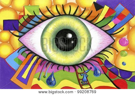 Human eyes on colorful abstract background.