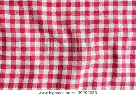 Red Checkered picnic Tablecloth Background.