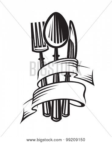 monochrome illustrations of spoon, fork and knife