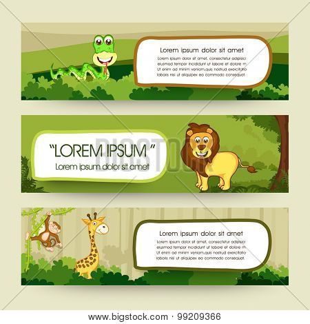 Creative website header or banner set with illustration of cute animals.